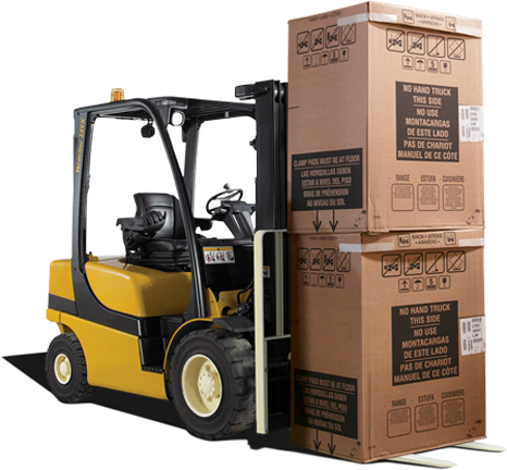 A C&L Supply forklift carrying boxes